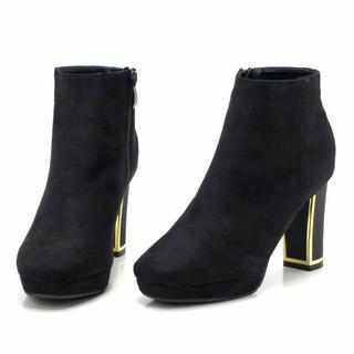 新品 送料込 ゴールドラインラメヒール ショートブーツ スエードブラック L(ブーツ)