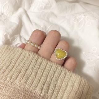ぷっくりハート リング 指輪 ハンドメイド ヴィンテージ アンティーク ゆめかわ(リング)