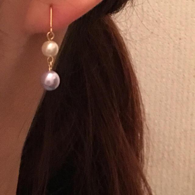 No,03 ピンクパールシンプルピアス レディースのアクセサリー(ピアス)の商品写真