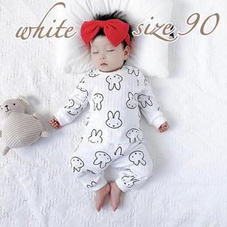 petit main - ラスト1点★ミッフィー柄 長袖パジャマ  90 ホワイト