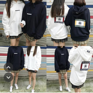 mixxmix - バックグラフィックプリントパーカー ネイビー mixxmix 韓国ブランド