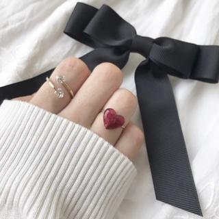 ぷるつやハート リング 指輪 ハンドメイド ヴィンテージ アンティーク レトロ(リング)