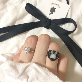 ぷっくりラビット リング 指輪 ハンドメイド ヴィンテージ アンティーク リボン(リング)