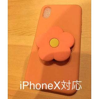 iPhoneX対応 ケース 花 ピンク 3D(iPhoneケース)