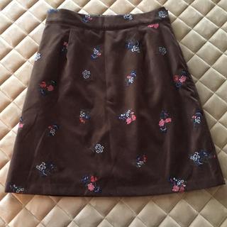 マーキュリーデュオ(MERCURYDUO)のマーキュリーデュオ フラワー刺繍ベロアスカート ブラウン(ミニスカート)