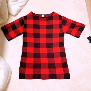 エックスガール(X-girl)の【エックスガール】新品 チェック トップス Tシャツ ワンピース 赤 Sサイズ(Tシャツ(半袖/袖なし))