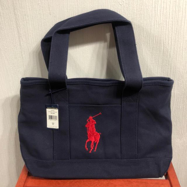 POLO RALPH LAUREN(ポロラルフローレン)の新品 ポロ ラルフローレン トートバッグ ミディアム 通学 通勤バッグ ネイビー レディースのバッグ(トートバッグ)の商品写真