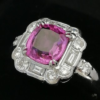 Pt900 ✨ピンクサファイア◇ダイヤ✨宝石指輪 愛でる楽しみも♥️(リング(指輪))