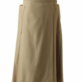 Drawer - ブラミンク  ウールフランネルリボンラップスカート ブラック 36