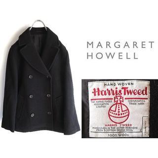 MARGARET HOWELL - 高級 マーガレットハウエル×英国産ハリスツイード ショートPコート Ⅱ 黒