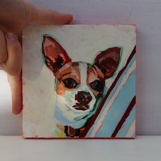 イヌの小さな油絵 15角サイズ(絵画/タペストリー)