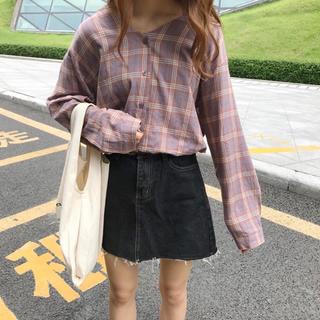 パープル 紫 チェックシャツ Vネック(シャツ/ブラウス(長袖/七分))