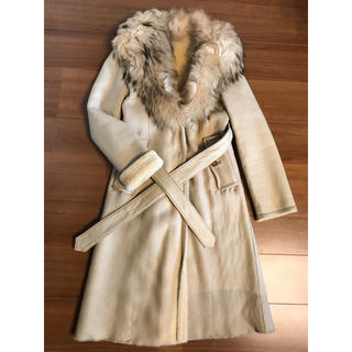バーバリー(BURBERRY)のバーバリー ロングコート 羊革 38サイズ 9号 ファー レザーコート(毛皮/ファーコート)