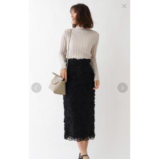 アクアガール(aquagirl)のフラワーレースミモレタイトスカート(ひざ丈スカート)