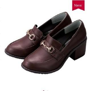 シマムラ(しまむら)のプチプラのあや ビット付きローファー ブラウン 4L(ローファー/革靴)