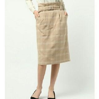 テチチ(Techichi)のテチチ シャギーチェックペンシルスカート ベージュ(ひざ丈スカート)