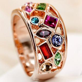 ★定価6580円★【CZダイヤモンド】豪華 カラフル おしゃれリング 指輪(リング(指輪))