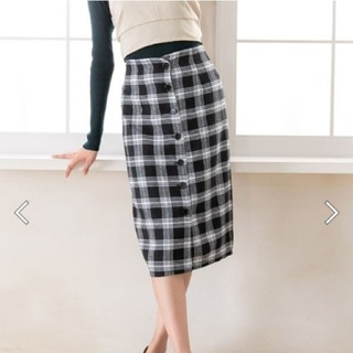 ユメテンボウ(夢展望)のフロントボタン チェックタイトスカート(ひざ丈スカート)