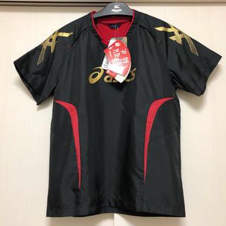 アシックス(asics)のアシックス バレーボールピステ/ウォームアップシャツ メンズS/ブラック×レッド(バレーボール)