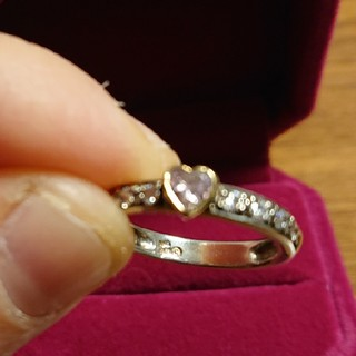 フォリフォリ(Folli Follie)のフォリフォリk10ピンクハート&キュービックジルコニアの指輪(リング(指輪))