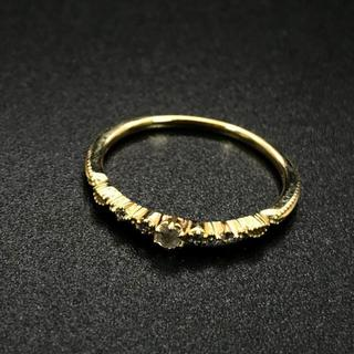 アガット(agete)の希少 美品 アガット K18 ゴールド ダイヤ リング AZ23(リング(指輪))