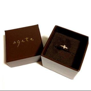アガット(agete)のagate K10 クロスダイヤピンキーリング 4号(リング(指輪))