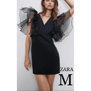 ZARA - 【新品・未使用】ZARA オーガンザスリーブ ワンピース ミニドレス M