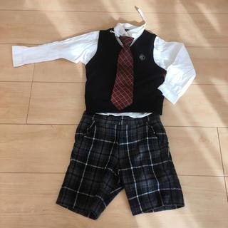 コムサデモード(COMME CA DU MODE)の男の子 フォーマル スーツ コムサ4点セット 90 100ネクタイ白シャツ(ドレス/フォーマル)
