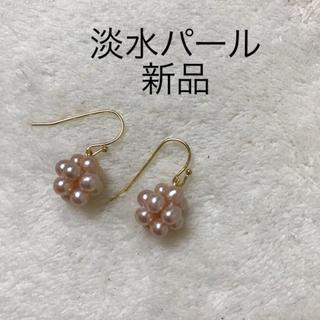 淡水パールピアス 本真珠 ベビーパール 編み込み ボールピアス フック シンプル(ピアス)