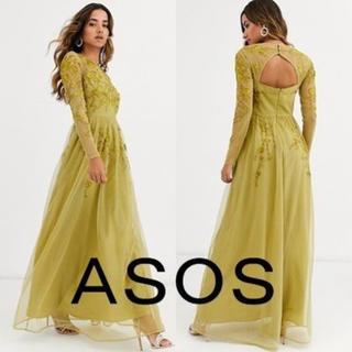 エイソス(asos)の【新品・未使用】ASOS 長袖 刺繍ワンピース ゴールド UK6【XS】(ロングドレス)