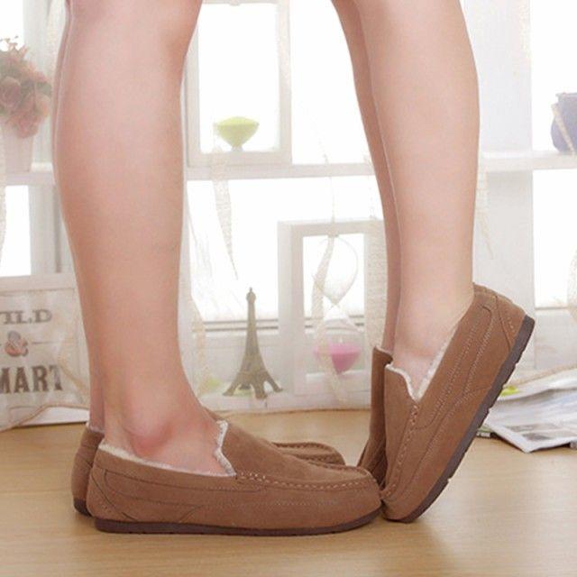 フェイクファームートンスリッポンモカシンブーツシューズ靴ベージュパンプス裏起毛 レディースの靴/シューズ(スリッポン/モカシン)の商品写真
