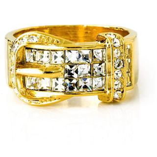 スワロフスキー(SWAROVSKI)のスワロフスキー クリスタル ベルトリング 指輪 K18GP イエローゴールド(リング(指輪))