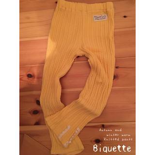 ビケット(Biquette)のBiquette * バナナイエロー 柄編み ニット レギンス スパッツ(パンツ/スパッツ)