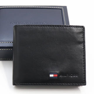 TOMMY HILFIGER - 新品 トミー ヒルフィガー 二つ折り 財布 札入れ 本革 コインケース ブラック