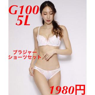 新品 G100 5L 大きいサイズ ブラジャー ショーツ セット 白 ホワイト (ブラ&ショーツセット)