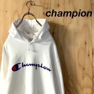 Champion - champion チャンピオン ビッグロゴ フーディパーカー ホワイト