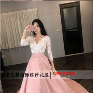 カラードレス ピンク 繊細レース Vネックドレス 光沢サテン(ウェディングドレス)