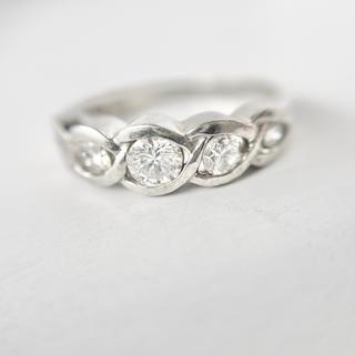 pt900 ダイヤモンド 0.5ct エタニティ リング ヴィンテージデザイン(リング(指輪))