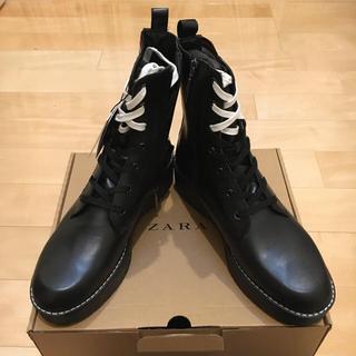 ザラ(ZARA)のZARA 本革ブーツ 40 新品未使用(ブーツ)