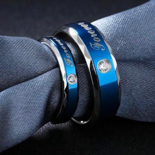 2点セット ペアリング ステンレス指輪 ステンレスリング  ブルー(リング(指輪))
