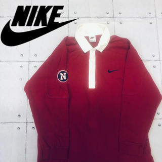 ナイキ(NIKE)の90' 銀タグ ラガーシャツ Lサイズ ワインレッド(ラグビー)