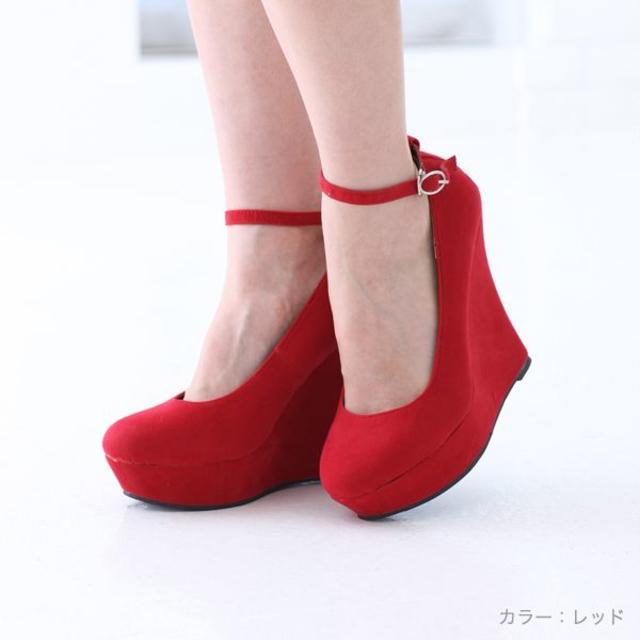 ウエッジソールパンプスアンクルストラップシューズ靴ウェッジサンダルスエード厚底 レディースの靴/シューズ(ハイヒール/パンプス)の商品写真
