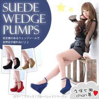 ウエッジソールパンプスアンクルストラップシューズ靴ウェッジサンダルスエード厚底(ハイヒール/パンプス)