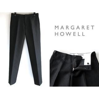 マーガレットハウエル(MARGARET HOWELL)の美品 マーガレットハウエル ウールリネンパンツ Ⅱ 黒 ブラック 日本製(その他)