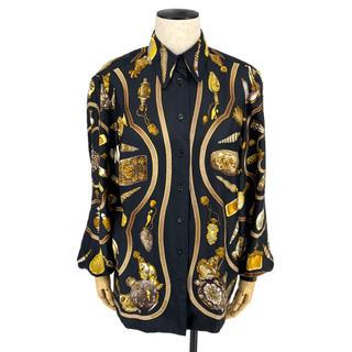 エルメス(Hermes)のHERMES☆ シルクシャツ 長袖 ブラック ゴールド ホワイト(シャツ/ブラウス(長袖/七分))