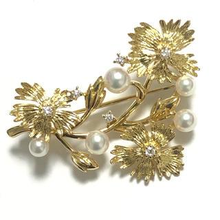 ミキモト(MIKIMOTO)のミキモト K18 アコヤパール 真珠 ダイヤモンド ブローチ MIKIMOTO(ブローチ/コサージュ)