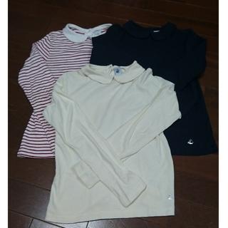 プチバトー(PETIT BATEAU)のプチバトー★襟つき長袖カットソー3枚set★10ans140㎝(Tシャツ/カットソー)