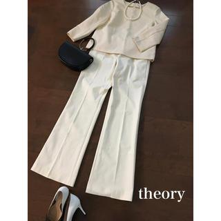 セオリー(theory)のtheory  セオリー センタープレス パンツ ホワイト Lサイズ(カジュアルパンツ)
