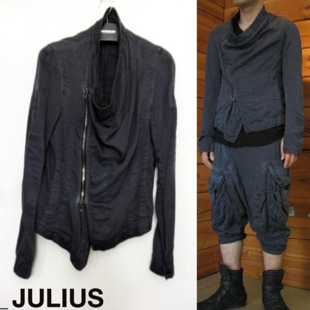 JULIUS(ユリウス)のJULIUS カバードブルゾン 1 ジャケット ライダース ネイビー メンズのジャケット/アウター(ブルゾン)の商品写真