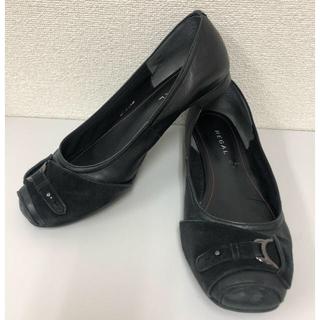 REGAL - REGALレザーフラットパンプス24.5cm★リーガルブラック革レザーマタニティ